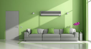 Green and gray modern lounge with air conditioner Royalty Free Stock Image