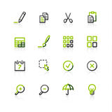 Green-gray publish icons. Contour vector icons, green-gray series