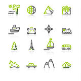Green-gray travel icons Stock Photo
