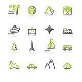 Green-gray travel icons vector illustration