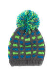 Green-gray woolen cap. Isolate on white royalty free stock photo