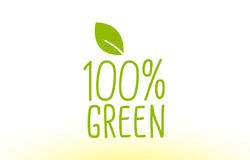100% green green leaf text concept logo icon design. 100% green green leaf text concept logo vector creative company icon design template modern background hand Stock Photo