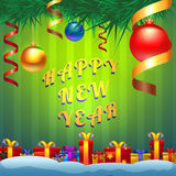Green greeting card with the New Year. New Year greeting card Stock Image