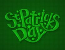 Green Greeting Card for St. Patricks Day, Lettering Hand Draw Stock Photography