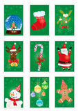 Green greeting cards. A collection of green greeting cards with Christmas symbols stock illustration