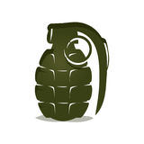 Green grenade icon. Bold hand grenade illustration, isolated on white background Stock Images