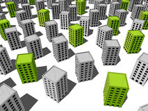 Green and grey buildings Stock Image