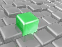 Green and grey cubes. As abstract background, 3D illustration royalty free illustration