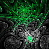 Green and grey fractal spirals. Digital artwork for creative graphic design Royalty Free Stock Images