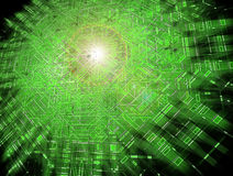 Green grid. Exploding; abstract circuits Stock Images
