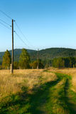 Green ground rural road. Near power lines Royalty Free Stock Photography