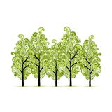 Green grove with trees for your design Stock Images