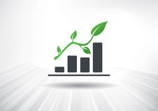 Green Growth with Leaf Icon Stock Photos