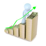 Green Growth Graph with Dollars Stock Images