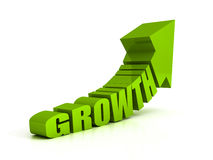 Green growth text arrow on white background Stock Photography