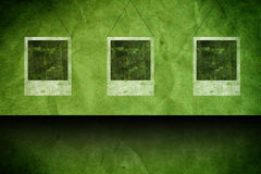 Green grunge background with cards Stock Photo