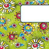 Green grunge background with  color flowers Royalty Free Stock Photo