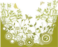 Green grunge background - vector. Green grunge background with butterflies and floral elements Stock Images