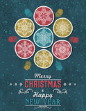 Green grunge Christmas card with snowflakes and greeting text Stock Photo