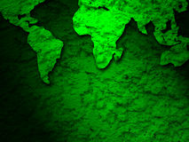 Green grunge earth map on a green 2 Royalty Free Stock Images