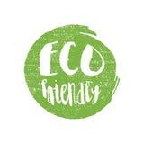 Green grunge Eco friendly  illustration hand drawn logotype sticker Stock Photos