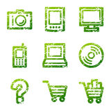 Green grunge electronics icons Royalty Free Stock Photo