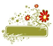Green grunge floral frame Stock Photos