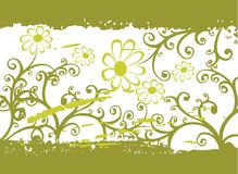 Green grunge flower pattern Stock Photos
