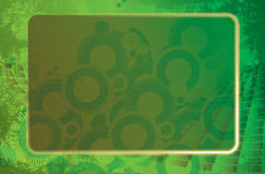 Green grunge frame. Image of frame with some graphics elements and circle design on green background Stock Photography