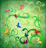 Green grunge idea background with flourishes Royalty Free Stock Photo