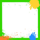 Green Grunge Ink Squares Frame. Grunge ink hand-drawn colorful squares. Vector Illustration royalty free illustration
