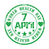 Green grunge rubber stamp for World Health Day. April 7. Green grunge rubber stamp with star, heart and the text World Health Day written inside. Design element Royalty Free Illustration