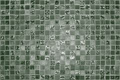 Green grunge small mosaic tiles Stock Image