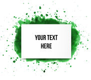 Green grunge splash and realistic paper background with place for your text on white Stock Photo