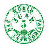 Green grunge stamp for World Environment Day. Green grunge rubber stamp with leaves and the text World Environment Day written inside. 5 June. Design element for Stock Image