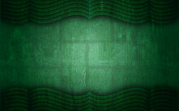 Green Grunge Textured Curtain Frame Background. A unique graphic design abstract background in green, textured and containing a curtain like top and bottom frame royalty free illustration