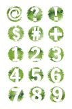 Green Grunge Textured Number and Symbol Set- 1-9 Royalty Free Stock Images