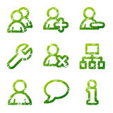 Green grunge users icons Stock Photo