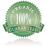 Green guarantee. Green medallion for organic products stock illustration