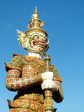 Green guardian statue is one of Bangkok's famous landmarks in the Temple of Dawn(Wat Arun) Stock Photography