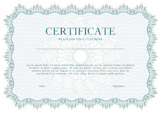 Green Guilloche certificate or diploma template background, modern  design. Vector illustration. Royalty Free Stock Photography