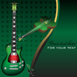 Green guitar and violin. Abstract colorful background with green guitar and green violin. Stringed instruments Vector Illustration