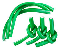 Green gummy candy (licorice) rope set Stock Images