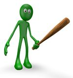 Green guy with baseball bat Royalty Free Stock Photos