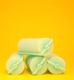 Green Hair Curlers on a yellow background Royalty Free Stock Image