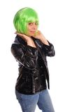 Green hair girl Stock Images