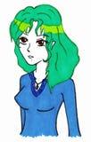 Green hair young girl blue dress anime manga cartoon vector Royalty Free Stock Photography