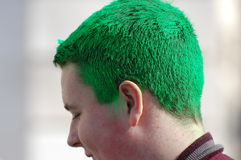 Green hair at New York St. Patrick's Day Parade. Green hair is a common sight among the celebrants at the Saint Patrick's Day Parade in New York City Royalty Free Stock Images