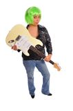 Green hair punk rock. A woman with green hair holding an electric guitar set on a white background Stock Photos