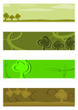 Green half banners background set. Royalty Free Stock Photos